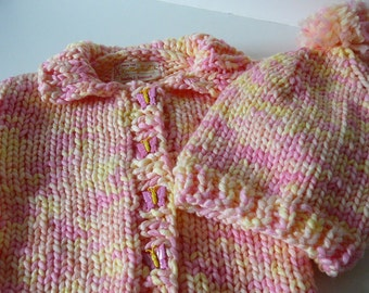 Super Bulky Toddler Cardigan and Hat/Girls/Pink/Yellow     READY TO SHIP      Size 6 to 12 months