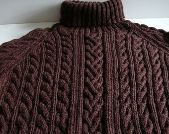 Knit Aran Cable Sweater/Men's/Chocolate Brown/Wool/Turtleneck     READY TO SHIP     Size Large