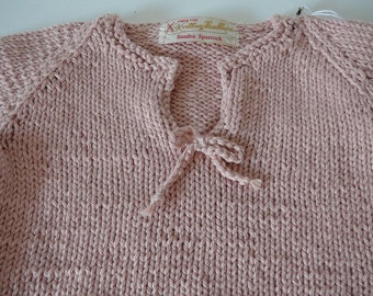 Hand Knit Organic Baby Sweater   READY TO SHIP     Size 6 to 12 months