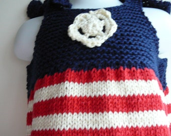 Hand Knit Patriotic Sun Top/Toddler Girls/Cotton/Acrylic/Red/Blue/Ivory     READY TO SHIP    Size 2  to 3 years
