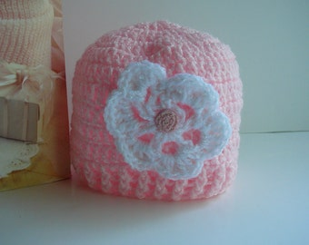 Baby Crocheted Beanie with Flower     READY TO SHIP     Size Newborn to 3 months