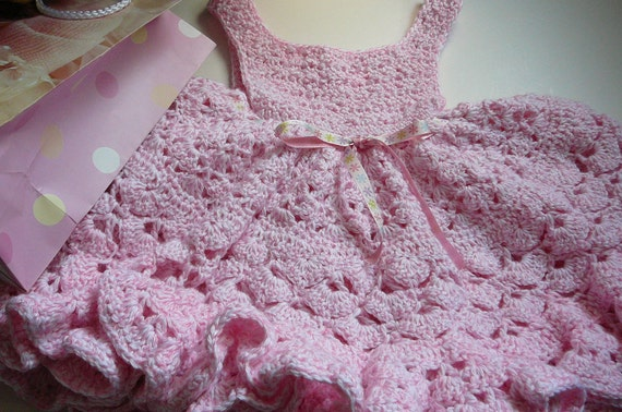 Ruffled Crocheted Dress/Baby Girl/Pink/Acrylic Yarn     READY TO SHIP    Size 3 to 6 months