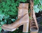 Steve Madden Tan repurposed gladiator boots - sz. 10