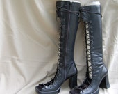 Tall gladiator boots, black, size 7.5 - 8. spikes and studs option.