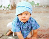 YOU CHOOSE SIZE Newborn to Adult Brimmed Beanie Hat YOU CHOOSE SIZE -baby blue, white, delft blue