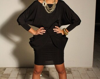 Olivia Black top, long sleeves, dolman sleeves, high fashion top, miami designer