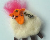 Punkysheep needlefelted brooch orange and pink