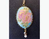 Pendant Necklace Original miniature silk painting, pink roses vintage style