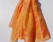 Orange, yellow, pure silk, long scarf, gold and bronze splash effect.