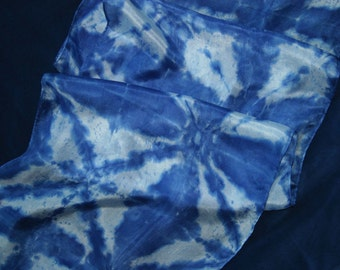 Blue and white shibori pure silk long scarf
