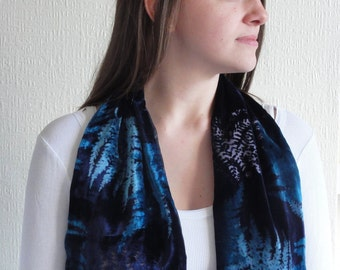 Velvet Scarf devore indigo teal pure silk and viscose