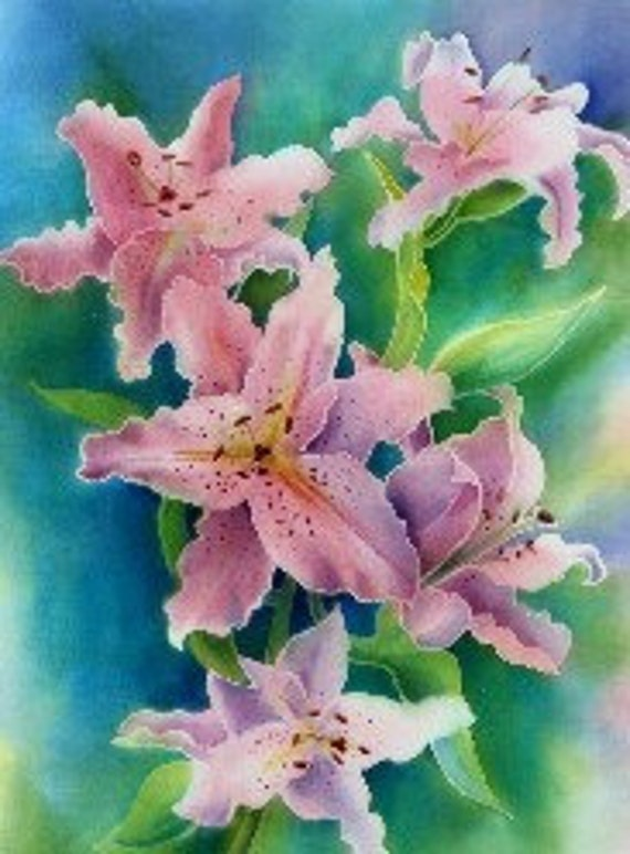 Pink Lilies , Limited Edition print from an original silk painting