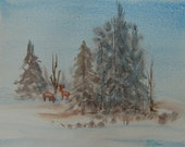 Frosty Morn - watercolor painting of deer on snowy landscape