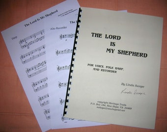The Lord Is My Shepherd - Original Sheet Music by Linda Swope for Voice, Folk Harp and Recorder