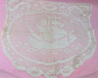 A touch of early 20th century class - beautiful 3 pc sailboat design handmade vintage Doilies, on sale now! Set