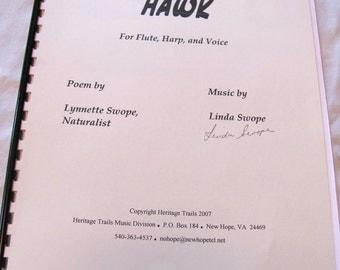 HAWK - Original Sheet Music - Song for Flute, Voice, Harp