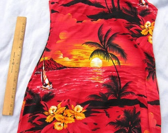 Vintage Hawaiin Bathing Suit Cover UP in red
