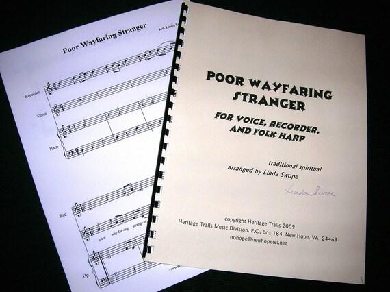 Original Sheet Music - Poor Wayfaring Stranger, easy arrangement for voice, recorder and folk harp