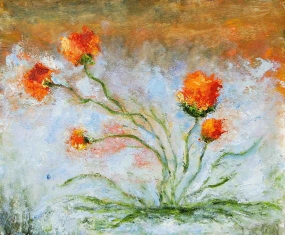 Red flowers, Original Oil Painting, Amparo Lopez Paintings