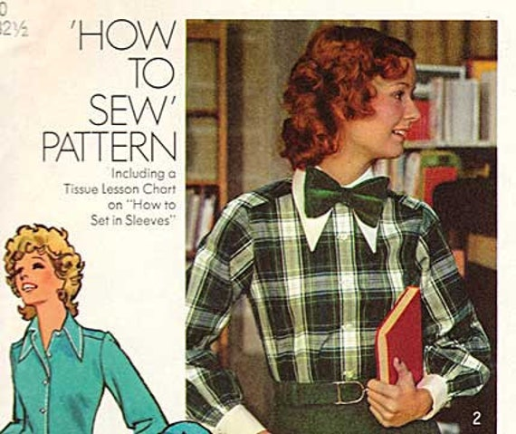 Misses Shirt and Bow Tie Pattern Vintage Simplicity 5148 70s Style Blouses Size 10