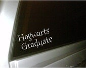 Hogwarts Graduate car decal...vinyl lettering...buy 2 get the 3rd for free...plus FREE shipping
