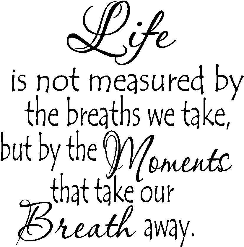 Life Is Not Measured By The Breaths Quote: Life Is Not Measured By The Breaths We Take....vinyl