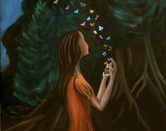 """Metamorphose II (Print 8"""" x 10"""") Inspirational Art, Figurative, Story telling Art, Art in Nature, Art for women, Gift for women, Room Decor"""