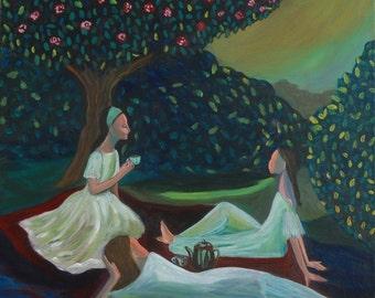 """The Tea Party (Print 8"""" x 8"""")Sisterhood Art, Figurative, Story Telling Art, Girls bonding, Tea Time, Whimsical Art, Gift for Sisters/girls"""
