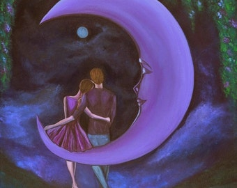 "The Moonlit Chat (8""x10"" Print), Romantic art, Purple Color Art, Wedding Gift, Wall Art, Anniversary Gift, Inspirational Art, Fantasy Art"