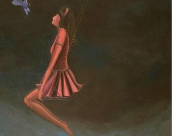 "The Encounter (Print 8"" x 10"" )Girl on a Swing, Dreamy Art, Figurative, Symbolic Art, Story Telling Art, Hummingbird, Serene art, Night Art"
