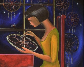 "The Dream Reader ( Print 8"" x 10"") Figurative Art, Story Telling Art, Dream Catcher, First Nation inspired, Symbolic Art, Night sky art"