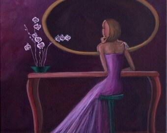 "Self Acceptance III (Print 8"" x 10"") Figurative Art, Story Telling Art, Art for Women, Gift for Women, Serene Art, Inspirational Art, Purple"