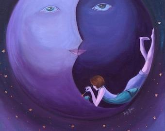 "Guidance (8""x10""): Inspirational Art, Art Print, Wall Art. Art for girls' room, Purple Color Art, Fantasy Art, Surrealism, figurative art"