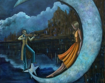 "The Moonlit Serenade (Print 8"" x 10"") Figurative Art, Romantic Art, Moon Art, Story telling Art, Fantasy Art, Wall Art, Surrealism,whimsical"
