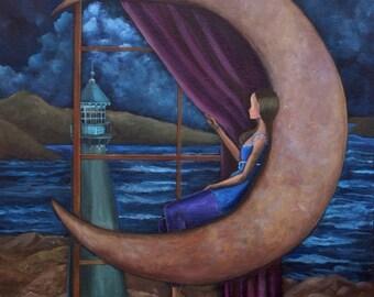 "Perspective II (""Print 8 x 10"") Figurative art, Surrealism, Moon Art, Nautical Art, Story Telling Art,Art for women/girl, Inspirational Art"