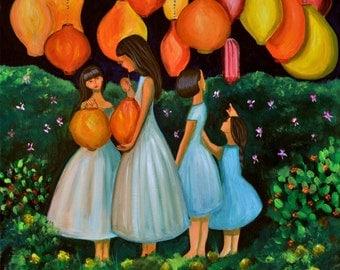 The Lantern Festival (Archival Print 8 x 8), Sisterhood Series