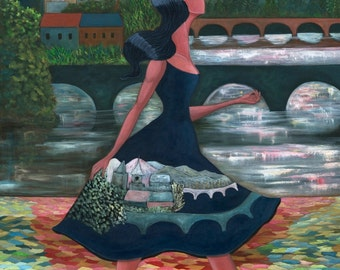 "Reflection II (8""x10"" Print): Figurative art, Inspirational Art, Art Print, Wall Art, Gift for Women, Surrealism art, Fall Color Art."