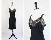 vintage 1930s 1940s slip dress //  Black Bias Cut Silk Negligee Slip with Lace