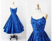 vintage 1950s 50s dress // Blue and Black Floral Polished Cotton Strapless Party Dress