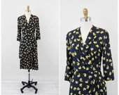 vintage 1930s 30s dress // Navy Blue and Yellow Novelty Print Silk Rayon Lady Alice Dress