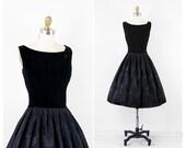 vintage 50s 60s dress // Black Velvet and Floral Satin Party Dress with Large Button