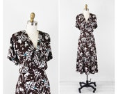 1940s dress / 40s plus size dress / Brown, White, and Teal Floral Print Day Dress with Bow