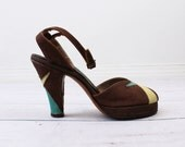 r e s e r v e d - 1940s shoes / 40s ankle strap shoes / Brown Atomic Platform Pumps with Yellow and Teal Accents