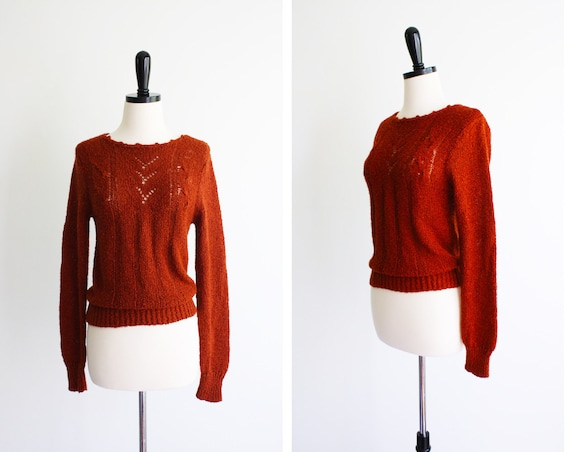 1970s orange sweater // 70's Vintage Burnt Orange Chevron Stripes Sweater Top