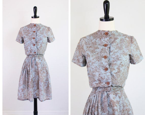 r e s e r v e d - vintage 1950s 50s dress // Blue and Brown Toile Day Dress with Matching Belt