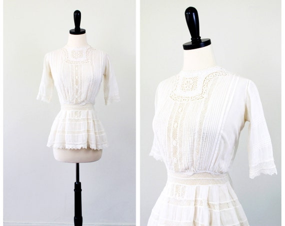 antique Victorian blouse // Creamy White Sheer Poetry Blouse with Hand Crocheted Lace