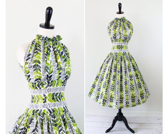 vintage 1950s 50s dress // Green and Black on White Leaf Print Halter Dress with Circle Skirt and Neck Bow -- designer custom couture