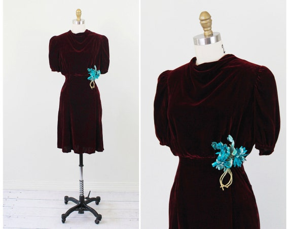 vintage 1930s dress // Burgundy Red Silk Velvet 30s Dress with Turquoise Flower Corsage