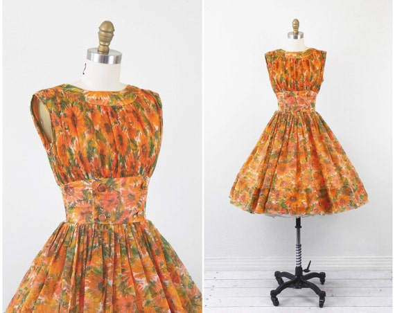vintage 1950s 50s dress // Orange and Green Floral Watercolors Party Dress with Sheer Overlay