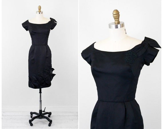 r e s e r v e d - 1950s dress / 50s dress / Black Wiggle Cocktail Dress with Avant Garde Bows by Pat Sandler